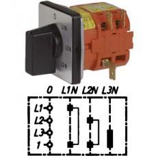"""Арт. 141860 Переключатель кулачковый для вольтметров с положением """"0"""" тип V1, 25A/690V IP54, код заказа V2N V1-F1-B-SI"""