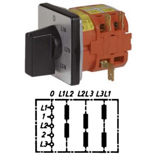 """Арт. 141863 Переключатель кулачковый для вольтметров с положением """"0"""" тип V2, 25A/690V IP54, код заказа V2N V2-F1-B-SI"""