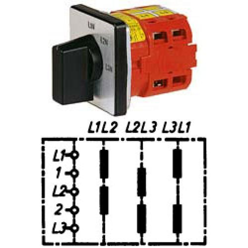 """Арт. 141854 Переключатель кулачковый для вольтметров без положения """"0"""" тип V21, 25A/690V IP54, код заказа V2N V21-F1-B-SI"""