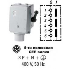 Арт. 46654 Трехполюсный выключатель в металлическом корпусе 16A/400V с вилкой СЕЕ 3P+N+E/400V/IP44 код заказа CGTNA 516/6h