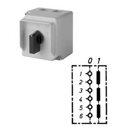 Арт. 31991089 Трехполюсный выключатель в металлическом корпусе, пластиковый козырек с лицевой стороны, 25A/690V IP65, код заказа D1A-G2/3-B-MSX