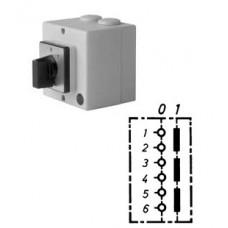 Арт. 143268 Трехполюсный выключатель в пластиковом корпусе с сигнальной лампой, 25A/400V IP54, код заказа V2N A/L-T24/2-B-MSI