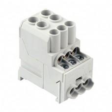 Арт. DB25 Вводно-распределительный клеммный блок с винтовыми зажимами проводника. Вход 2.5-25 мм.кв., выход 1.5-10 мм.кв. 100A/400V.
