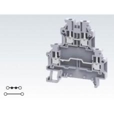 Арт. ODL2.5 2-х уровневая клемма, четыре терминала (2+2) с винтовыми зажимами проводника до 2.5 мм.кв.