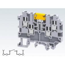 Арт. CKT4U/4 Клемма многорядная, тестовая (разъединяемая), 4 терминала с винтовыми зажимами проводника сечением до 4 мм.кв. 17.5A/800V