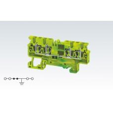 Арт. CXG2.5/4 Клемма заземления четырехрядная с пружинными зажимами проводника до 2.5 мм.кв.