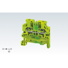 Арт. CXG2.5 Клемма заземления с боковым подключением проводника, пружинные зажимы до 2.5 мм.кв.