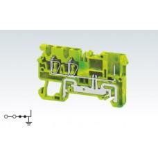 Арт. CXG2.5/3/1B Клемма заземления трехрядная с пружинными зажимами проводника до 2.5 мм.кв. и терминалом для подключения съемных клемм