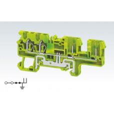Арт. CXG2.5/4/2B Клемма заземления четырехрядная с пружинными зажимами проводника до 2.5 мм.кв. и терминалом для подключения съемных клемм