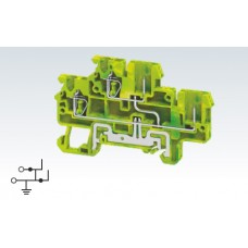 Арт. CXDLG2.5/2B(I.S) Клемма заземления двухуровневая с пружинными зажимами проводника до 2.5 мм.кв. и терминалами для подключения съемных клемм