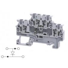 Арт. CXDL2.5(E)D1 Двухуровневая клемма, пружинные зажимы проводника до 2.5 мм.кв. 1A/1000V с диодной схемой - конфигурация D1