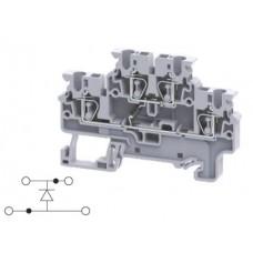 Арт. CXDL2.5(E)D2 Двухуровневая клемма, пружинные зажимы проводника до 2.5 мм.кв. 1A/1000V с диодной схемой - конфигурация D2