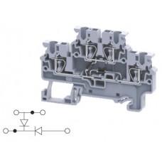 Арт. CXDL2.5(E)DD1 Двухуровневая клемма, пружинные зажимы проводника до 2.5 мм.кв. 1A/1000V с диодной схемой - конфигурация DD1