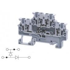 Арт. CXDL2.5(E)DD2 Двухуровневая клемма, пружинные зажимы проводника до 2.5 мм.кв. 1A/1000V с диодной схемой - конфигурация DD2