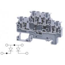Арт. CXDL2.5(E)DD3 Двухуровневая клемма, пружинные зажимы проводника до 2.5 мм.кв. 1A/1000V с диодной схемой - конфигурация DD3