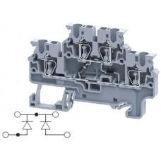 Арт. CXDL2.5(E)DD4 Двухуровневая клемма, пружинные зажимы проводника до 2.5 мм.кв. 1A/1000V с диодной схемой - конфигурация DD4