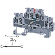 Арт. CXDL2.5(E)LD1 Двухуровневая клемма, пружинные зажимы проводника до 2.5 мм.кв. 1A/1000V со схемой конфигурации LD1