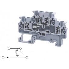 Арт. CXDL2.5(E)TS1 Двухуровневая клемма, пружинные зажимы проводника до 2.5 мм.кв. 1A/1000V со схемой конфигурации TS1