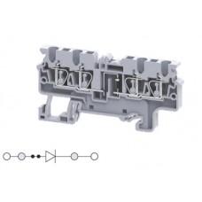 Арт. CX2.5/4(E)D1 Четырехрядная клемма, пружинные зажимы проводника до 2.5 мм.кв. 1A/1000V с диодной схемой - конфигурация D1