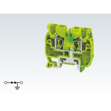 Арт. CXM2.5 Мини клемма с пружинным зажимом проводника до 2.5 мм.кв. заземление на DIN-рейку