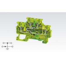 Арт. CXDLG2.5(I.S) Клемма заземления двухуровневая с пружинными зажимами проводника до 2.5 мм.кв.