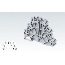 Арт. CP3L2.5 Трехуровневая клемма (2+2+2) с пружинными зажимами нажимного действия (Push-In type) 2.5 мм.кв.24A/500V