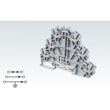 Арт. CP3LG2.5 Трехуровневая клемма (2+2+ЗК) с пружинными зажимами нажимного действия (Push-In type) 2.5 мм.кв.24A/500V