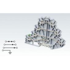 Арт. CP4LG2.5 Четырехуровневая клемма (2+2+2+ЗК) с пружинными зажимами нажимного действия (Push-In type) 2.5 мм.кв.24A/500V