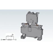 Арт. CPF4L Клемма с предохранителем, пружинные зажимы нажимного действия (Push-In type) до 4 мм.кв. 10A/1000V с индикацией