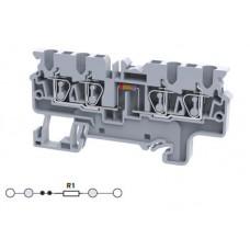 Арт. CX2.5/4(E)R1 Четырехрядная клемма, пружинные зажимы проводника до 2.5 мм.кв. 1A/1000V с резисторной схемой - конфигурация R1