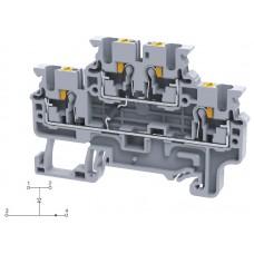 Арт. CPDL2.5(E)D2 Двухуровневая клемма серии CP, пружинные зажимы проводника до 2.5 мм.кв. 1A/600V с диодной схемой - конфигурация D2