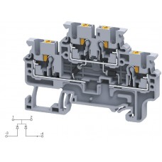 Арт. CPDL2.5(E)DD4 Двухуровневая клемма серии CP, пружинные зажимы проводника до 2.5 мм.кв. 1A/600V с диодной схемой - конфигурация DD4