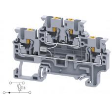 Арт. CPDL2.5(E)TS1 Двухуровневая клемма, пружинные зажимы проводника до 2.5 мм.кв. 600V со схемой конфигурации TS1