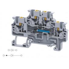 Арт. CPDL2.5(E)DD5 Двухуровневая клемма серии CP, пружинные зажимы проводника до 2.5 мм.кв. 1A/600V с диодной схемой - конфигурация DD5