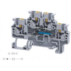 Арт. CPDL2.5(E)DD6 Двухуровневая клемма серии CP, пружинные зажимы проводника до 2.5 мм.кв. 1A/600V с диодной схемой - конфигурация DD6