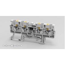 Арт. CP4/4(E)D3 Многорядная клемма серии CP, пружинные зажимы проводника до 4 мм.кв. 3A/1000V с диодной схемой - конфигурация D3